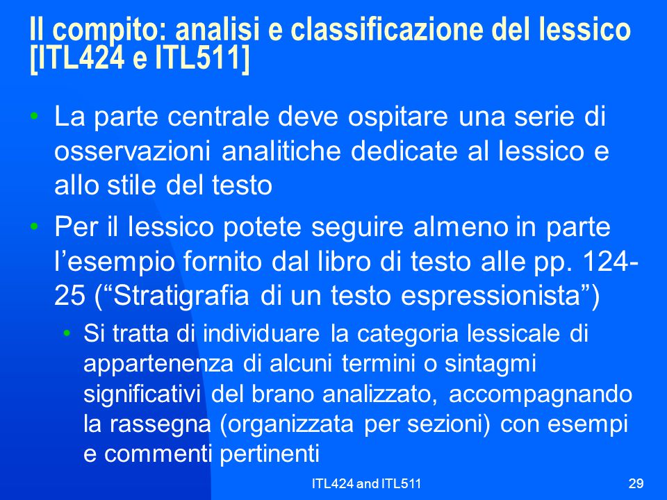 Il compito: analisi e classificazione del lessico [ITL424 e ITL511]